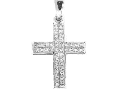 75 ct 2 row princes cut diamond 18k white gold cross pendant at vonora 75 ct 2 row princes cut diamond 18k white gold cross pendant aloadofball Image collections
