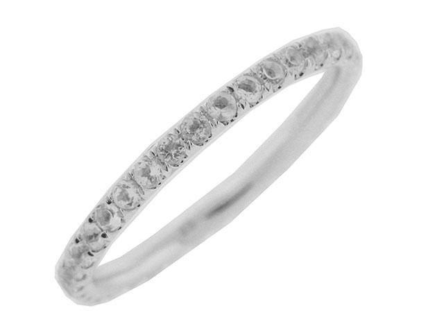 Round White Topaz 18k Gold Eternity Band Ring