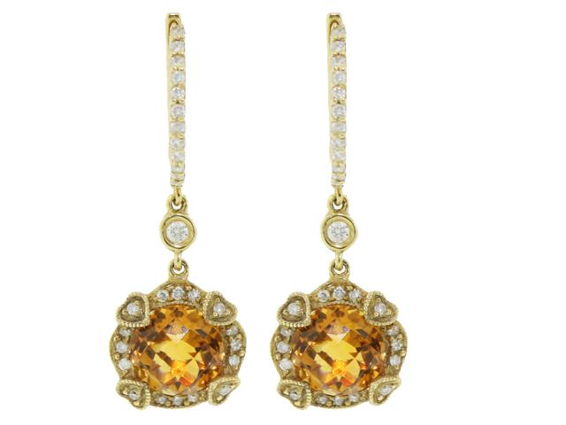 18k Yellow Gold Circle Citrine Heart Shape Diamond Dangle Gemstone Earring