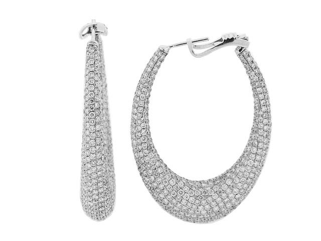Celebrity Style Pave Diamond 18k Gold Oval Hoop Earrings