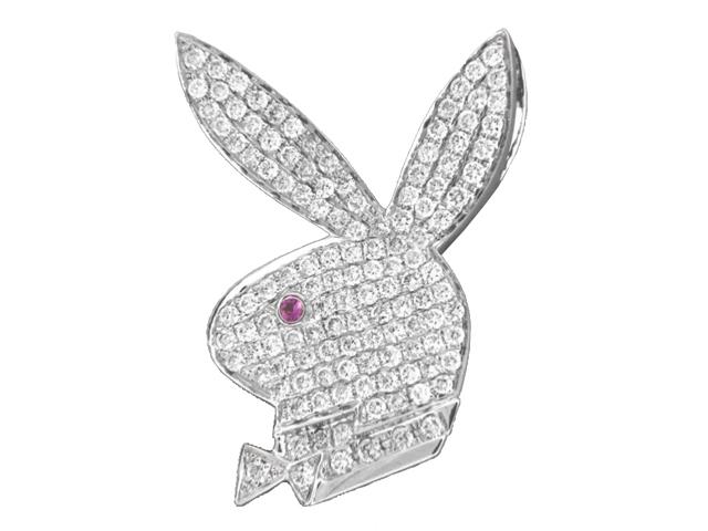 Playboy bunny 127 ct pave diamond 18k white gold pendant at vonora playboy bunny 127 ct pave diamond 18k white gold pendant aloadofball Image collections