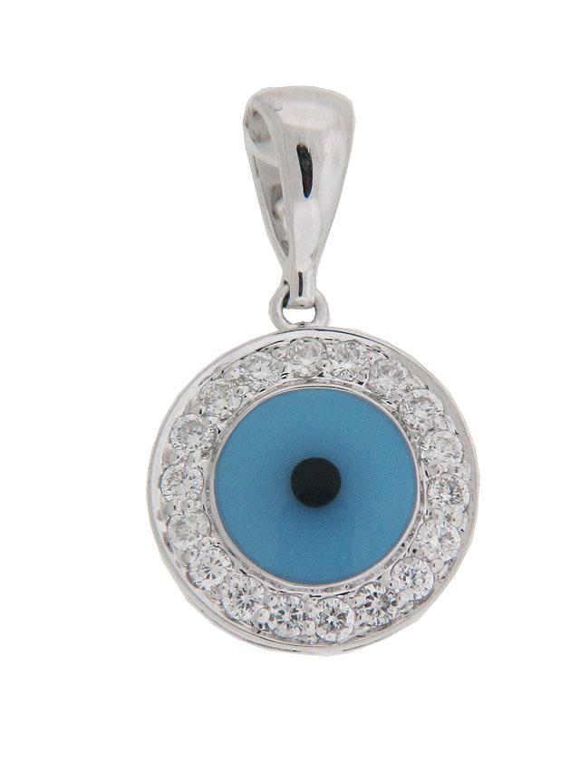 Diamond enamel 18k white gold evil eye pendant at vonora diamond enamel 18k white gold evil eye pendant aloadofball Gallery