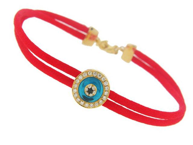 Diamond 18k Yellow Gold Evil Eye Red String Bracelet