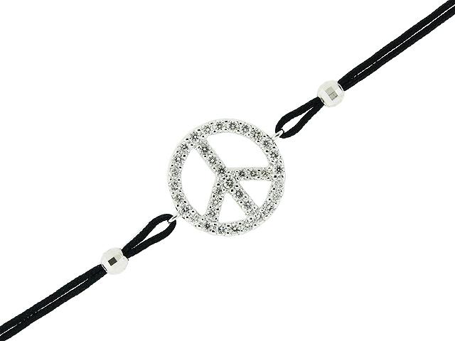 18k white gold 043ct diamond peace symbol pendant black string 18k white gold 043ct diamond peace symbol pendant black string bracelet aloadofball Images