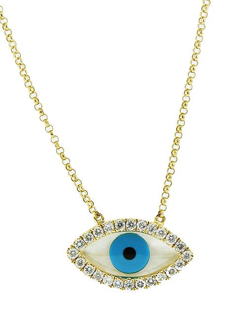 18k yellow gold diamond evil eye pendant necklace