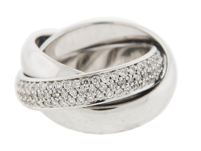 1 Ct Diamond Three Band Rolling Ring 18k White Gold At Vonora