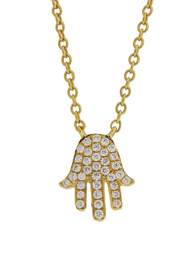Pave Diamond Hamsa Hand 18k Yellow Gold Necklace at Vonora